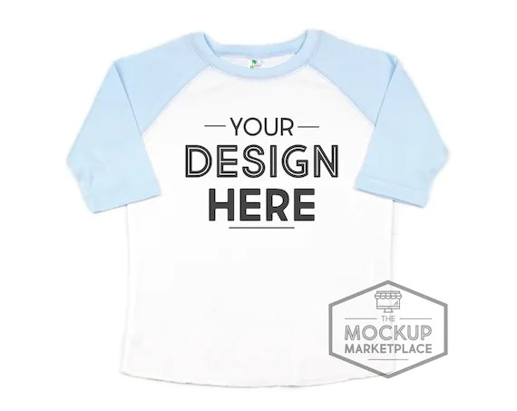 Download Free Laughing Giraffe Blue Raglan Mockup Sublimation ...