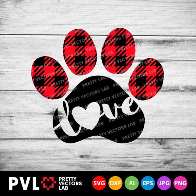Download Love Paw Svg Buffalo Plaid Paw Print Svg Valentine's Day ...