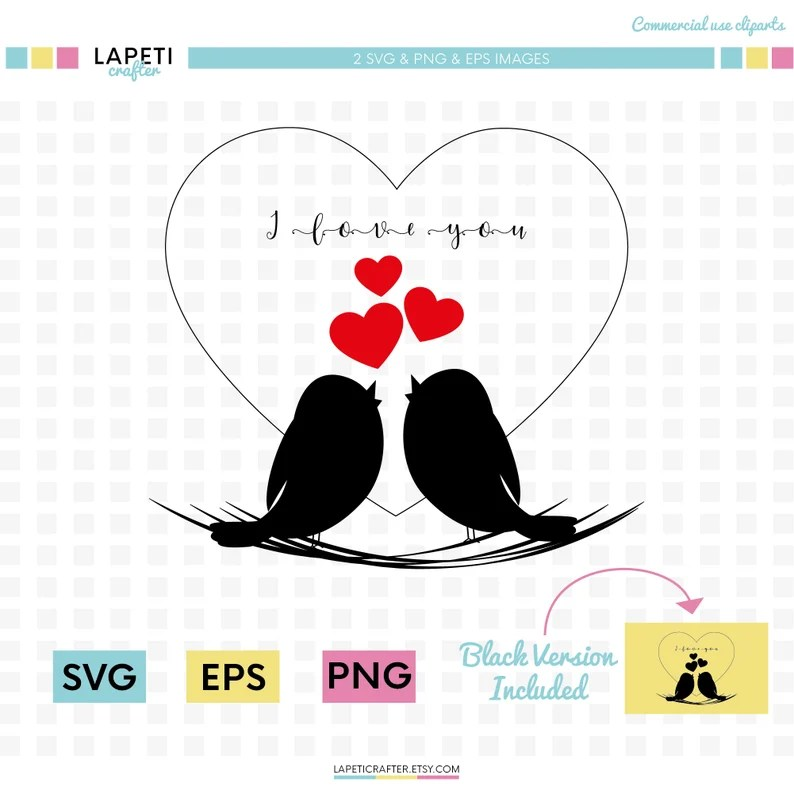 Download Love birds svg clipart bird silhouette isolated Valentines ...