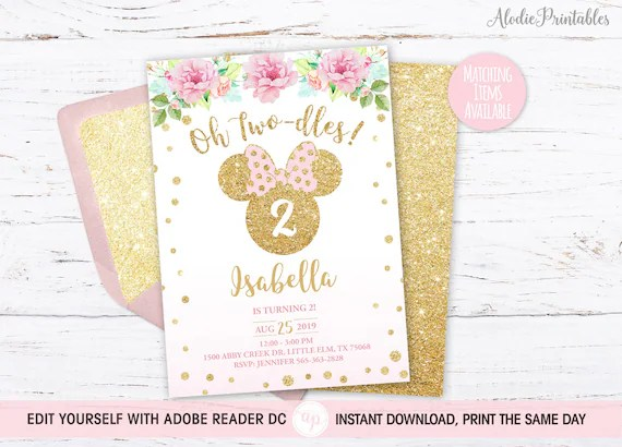 minnie mouse invitation oh two dles editable birthday invitation template pdf pink minnie mouse birthday party diy printable bdi48
