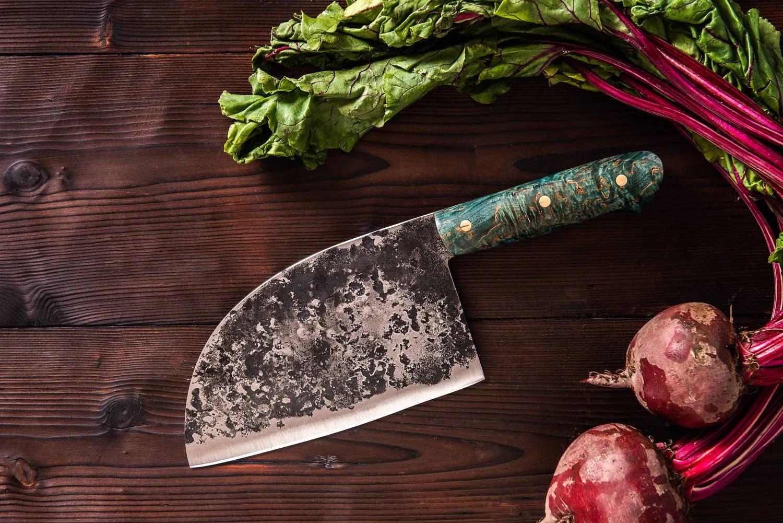 handmade serbian knife hand forged cleaver knife kitchen knife green