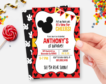 mickey mouse invitation etsy