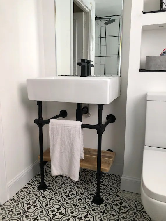 industrial rustic under sink shelf unit complete with towel rail