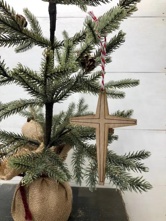 Wooden Cross Ornament Christmas Ornaments Christian Etsy