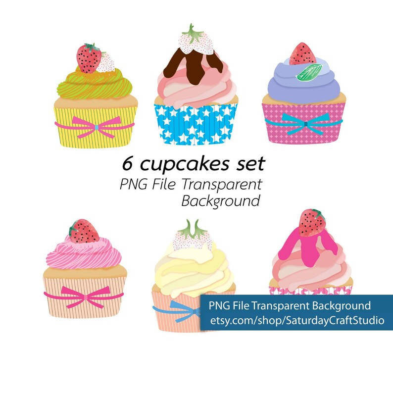 6 Cupcakes Png File Transparent Background High Quality Etsy
