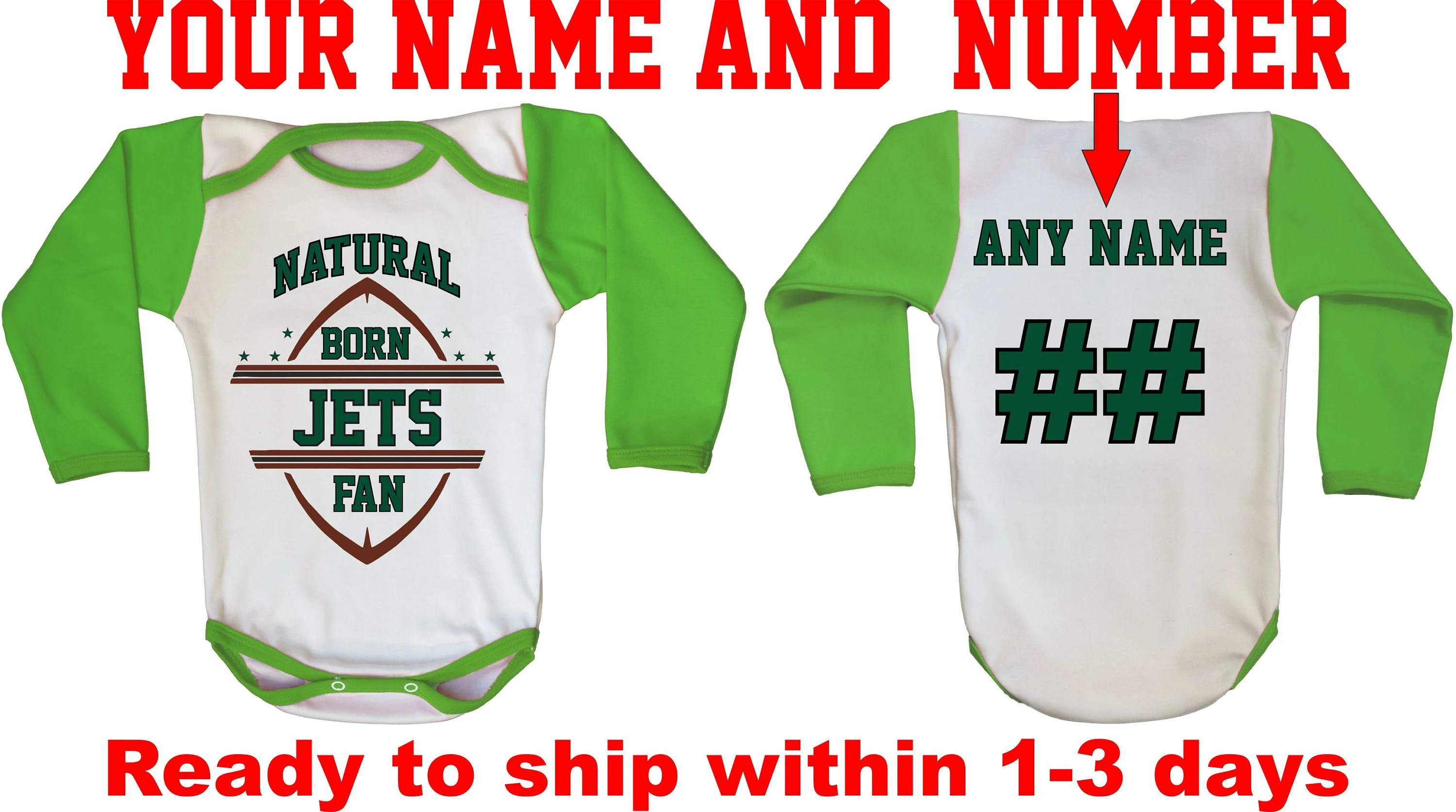 b21d493774c Jets Baby Romper For Newborn Fan Neutral Baby Football Bodysuit In  Different Color Football Shirt For Newborn Jets Fan Custom Baby Shirt