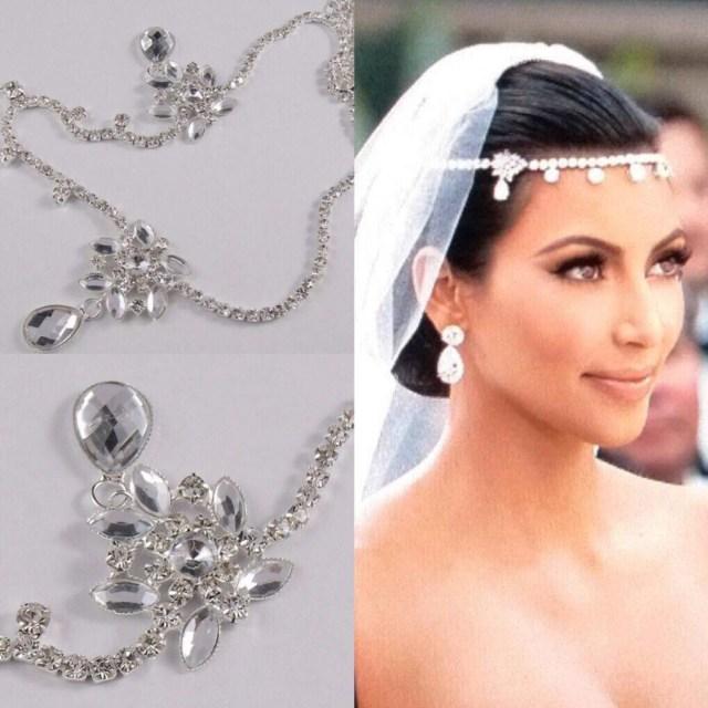 kim kardashian head jewelry inspires- crystal rhinestone forehead chain wedding head piece for brides
