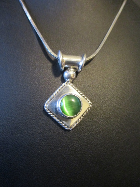 Cats Eye Jewelry : jewelry, Sterling, Silver, Cat's, Necklace