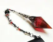 Crystal pendant, charm, red crystals, magic pendant, hanger crystal, bookmark leather, special gift, keychain