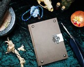 Medieval style leather journal A5, notebook, brass closure, leather ribbon bookmark, cut embellishment, ornaments, 288 pages, hand-tied