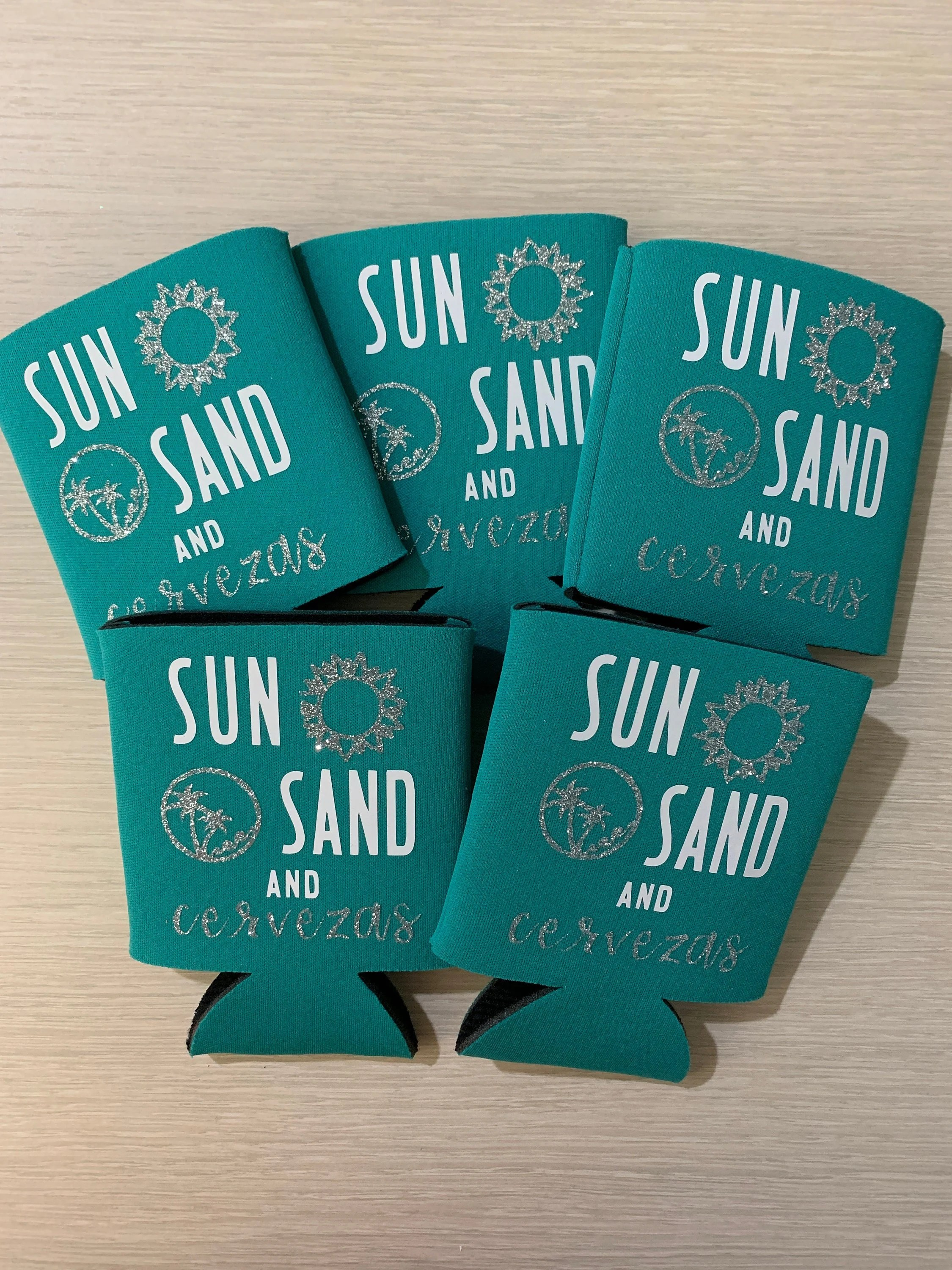 Sun Sand And Cervezas Koozies Vacation Koozies Vacation Etsy