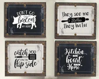 kitchen signs for home rolling carts etsy decor funny baker rustic wall bakers gonna bake haters hate