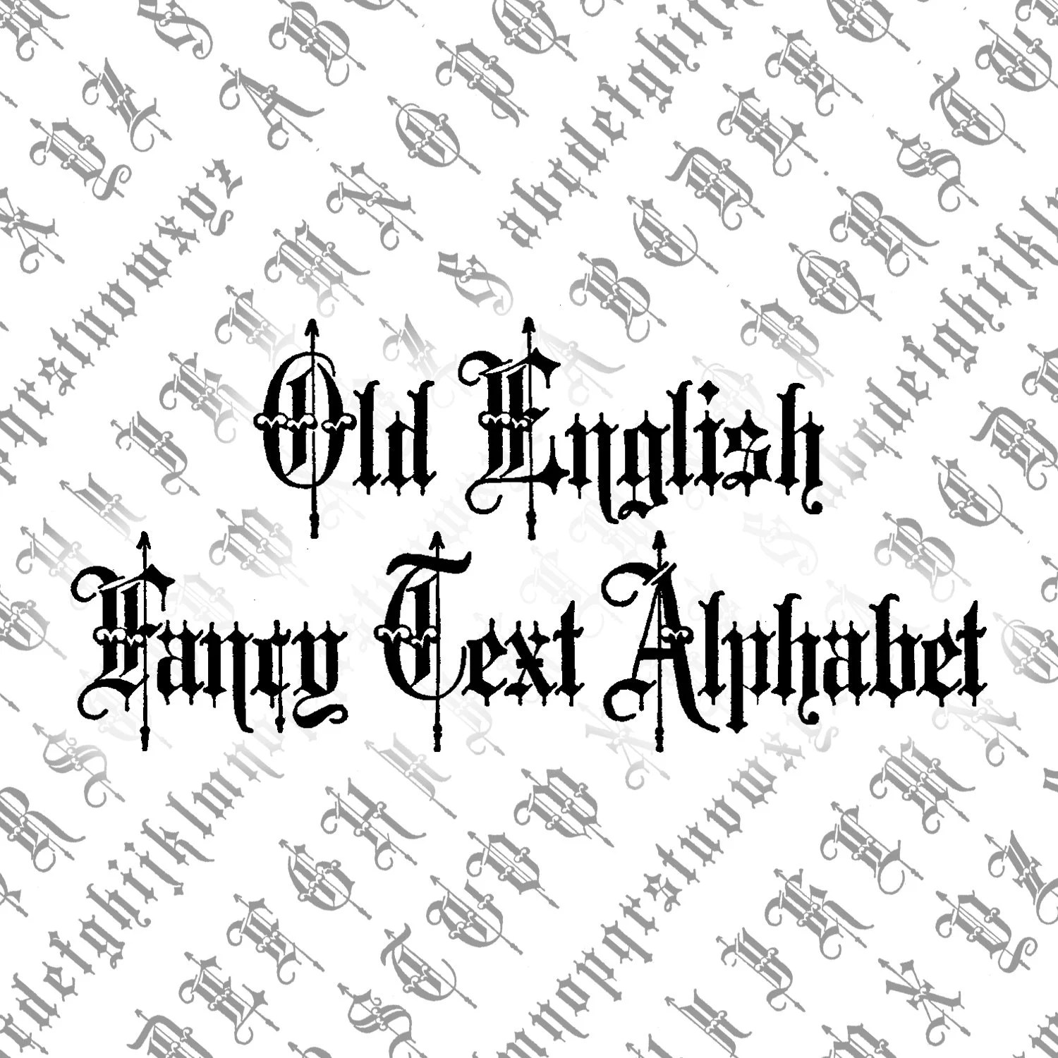 Victorian Old English Fancy Text Ornamental Alphabet