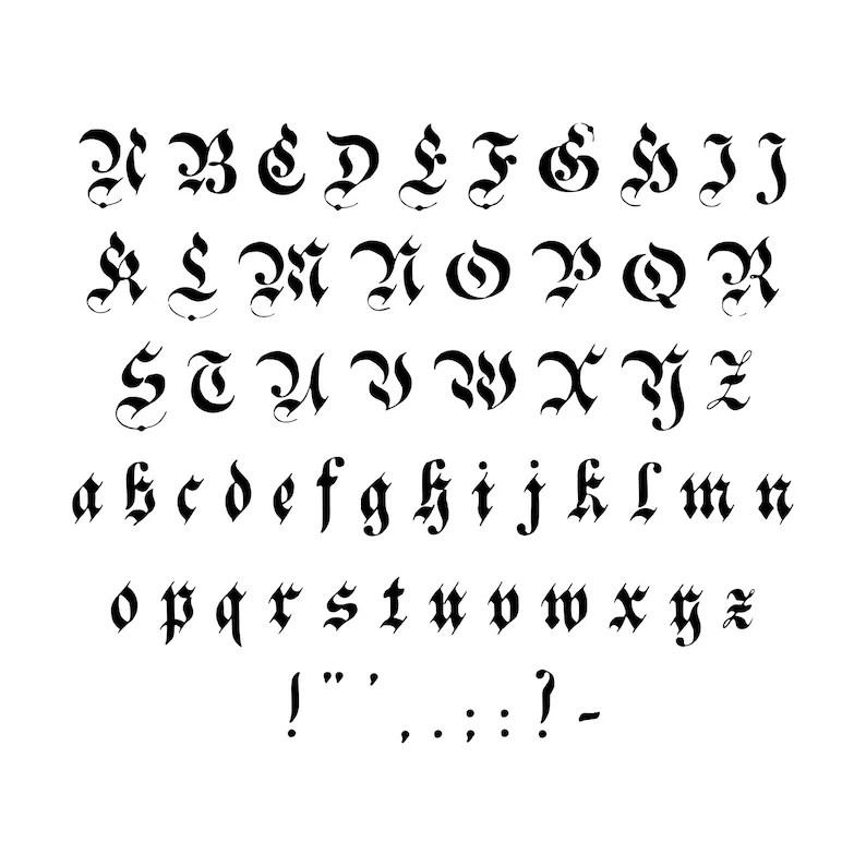 Victorian German Gothic Fraktur Installable Font Vintage