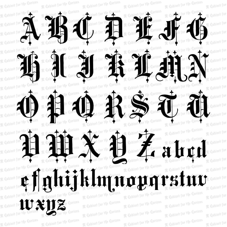 Victorian Old English Title Text Ornamental Alphabet