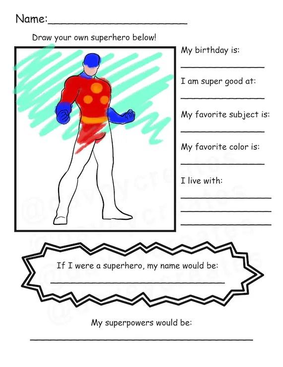 Create Your Own Superhero Worksheet : create, superhero, worksheet, School, Superhero, Coloring, Worksheet