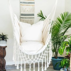 Swing Chair With Stand Kuwait Desk Or Stool Hanging Etsy Natural Macrame Hammock Pillow Combo Indoor Outdoor