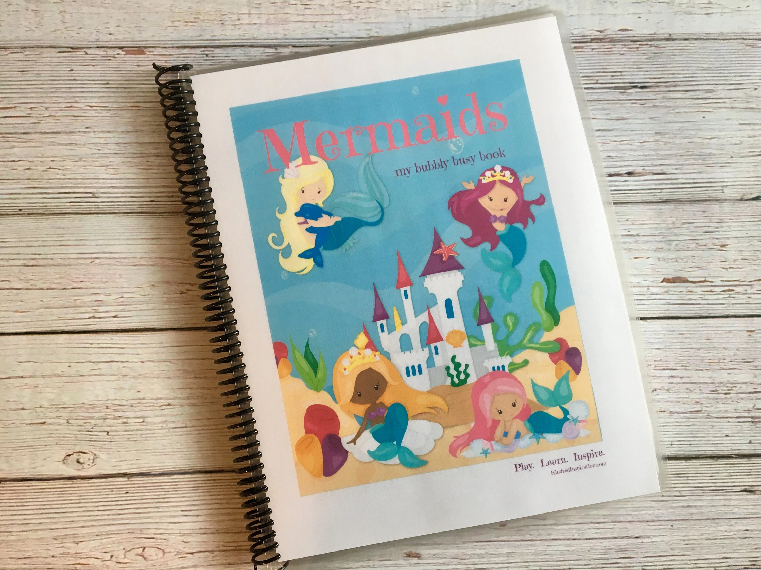 Mermaid Kids Printable Busy Book Preschool Learning Binder
