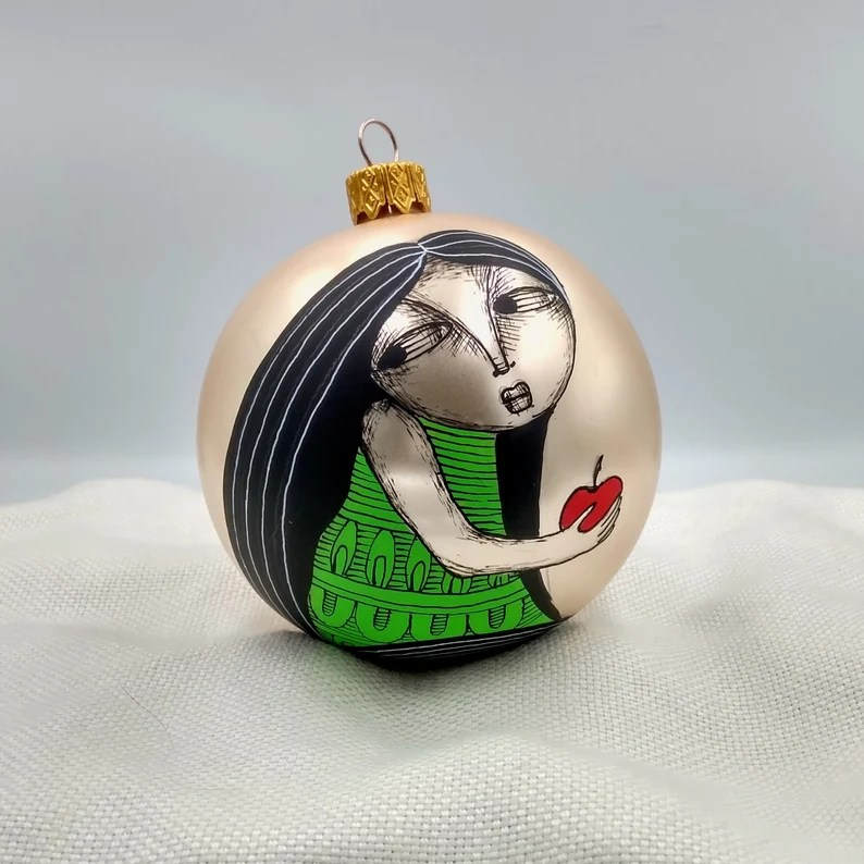 Christmas Ornament Hand Painted Glass Ball Eve and Apple image 0