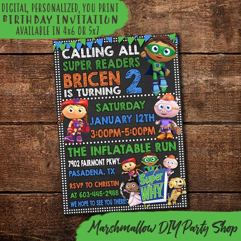 super why invitation etsy