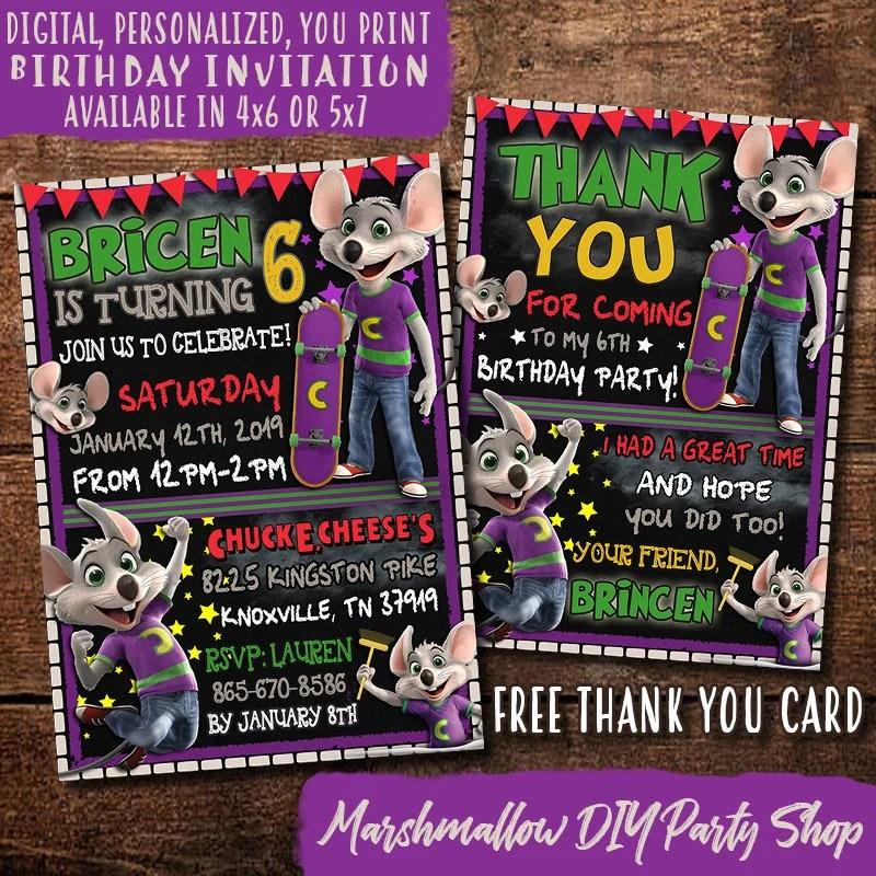chuck e cheese birthday invitation digital print yourself chuck e cheese party invite chuck e cheese invitation free thank you card