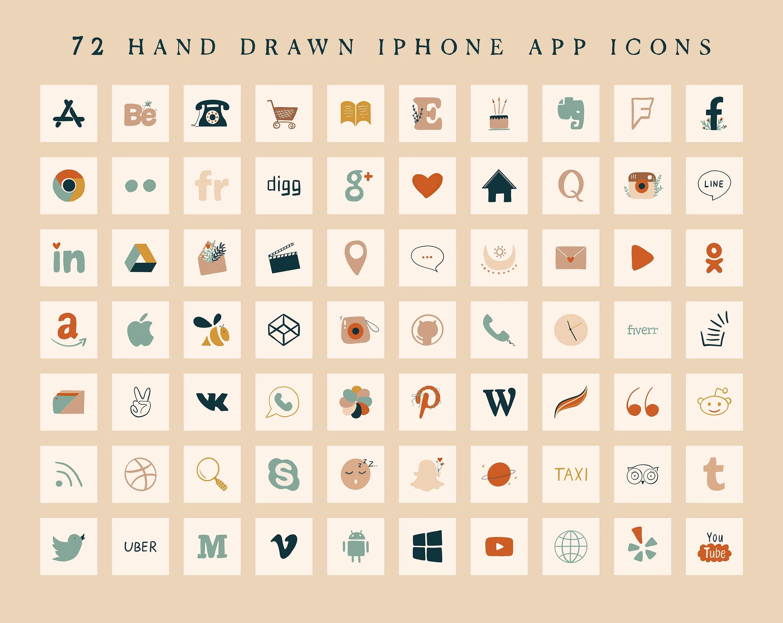 100 app icons | 400 app covers. Boho Neutral App Icons IOS 14 App Icons Aesthetic Beige ...