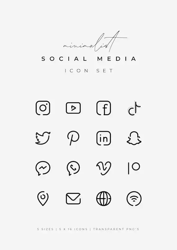 Tiktok Black And White Logo : tiktok, black, white, Black, Social, Media, Icons., Minimalist, Logos.