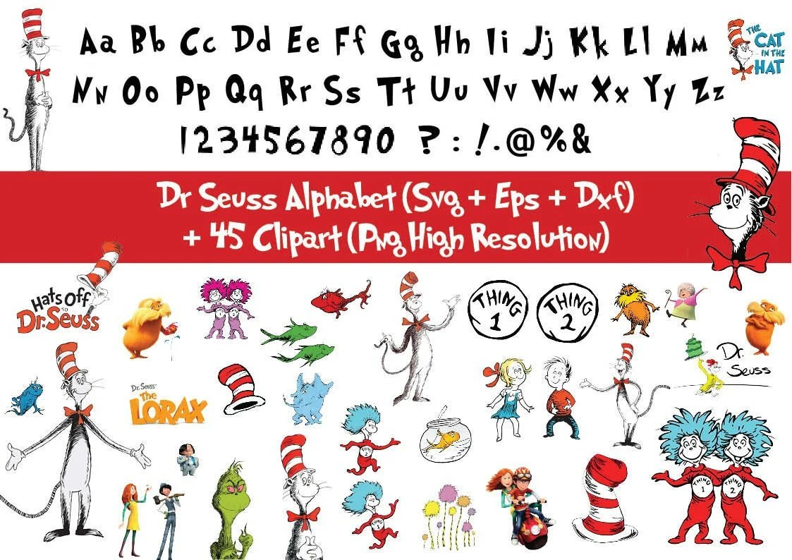 45 X Dr Seuss Clipart And Alphabet Svg Digital Letters