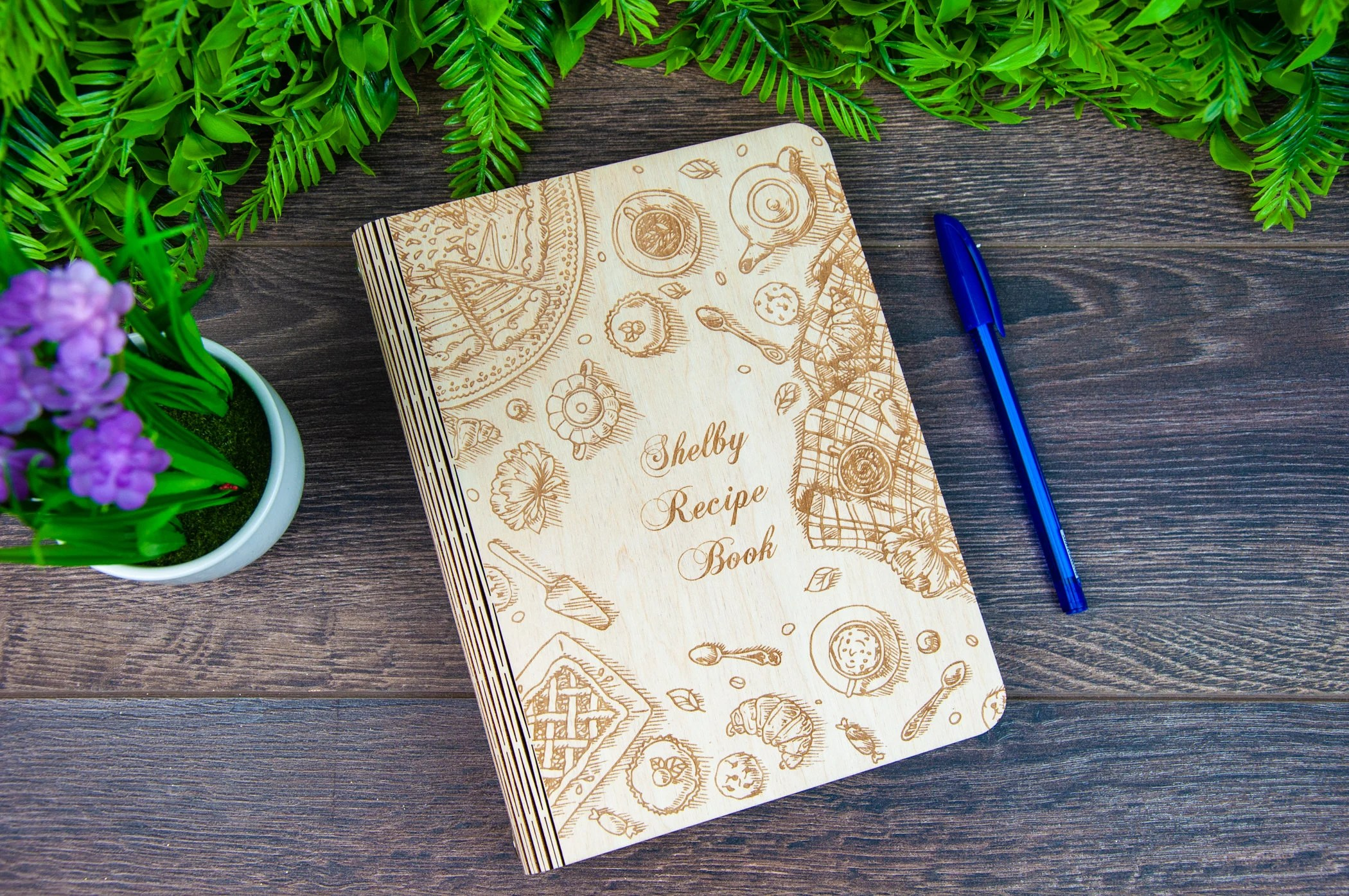 Personalized Wooden Recipe Book Binder Custom Journal Cookbook image 7