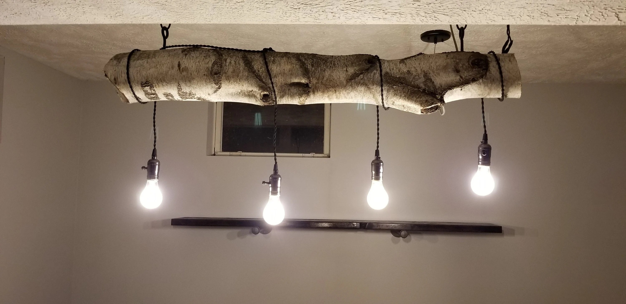 birch log rustic chandelier lighting etsy