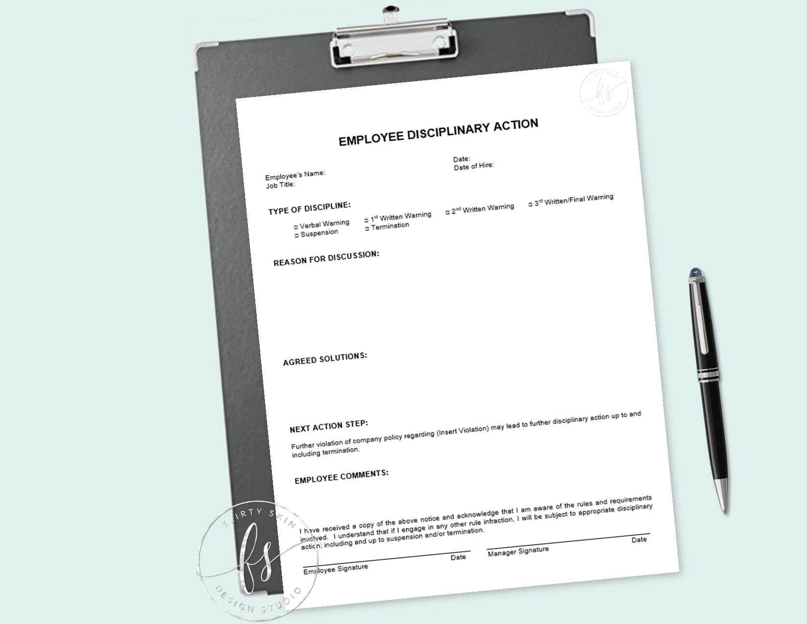 An employee disciplinary action form is a form where employees are warned about their misbehavior, and the employees accept the receipt of the form. Employee Disciplinary Action Template Spa Salon Medical Etsy