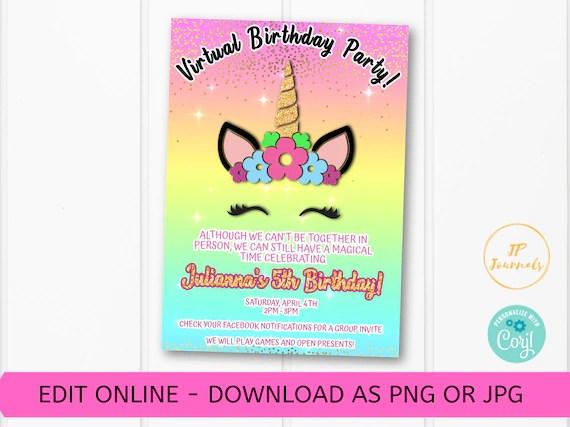 rainbow unicorn virtual birthday party