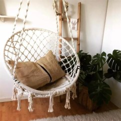 Swing Chair With Stand Kuwait Revolving For Laboratory Hanging Etsy Macrame Outdoor Indoor Nordic Style Handmade Cotton Rope Hammock Bedroom