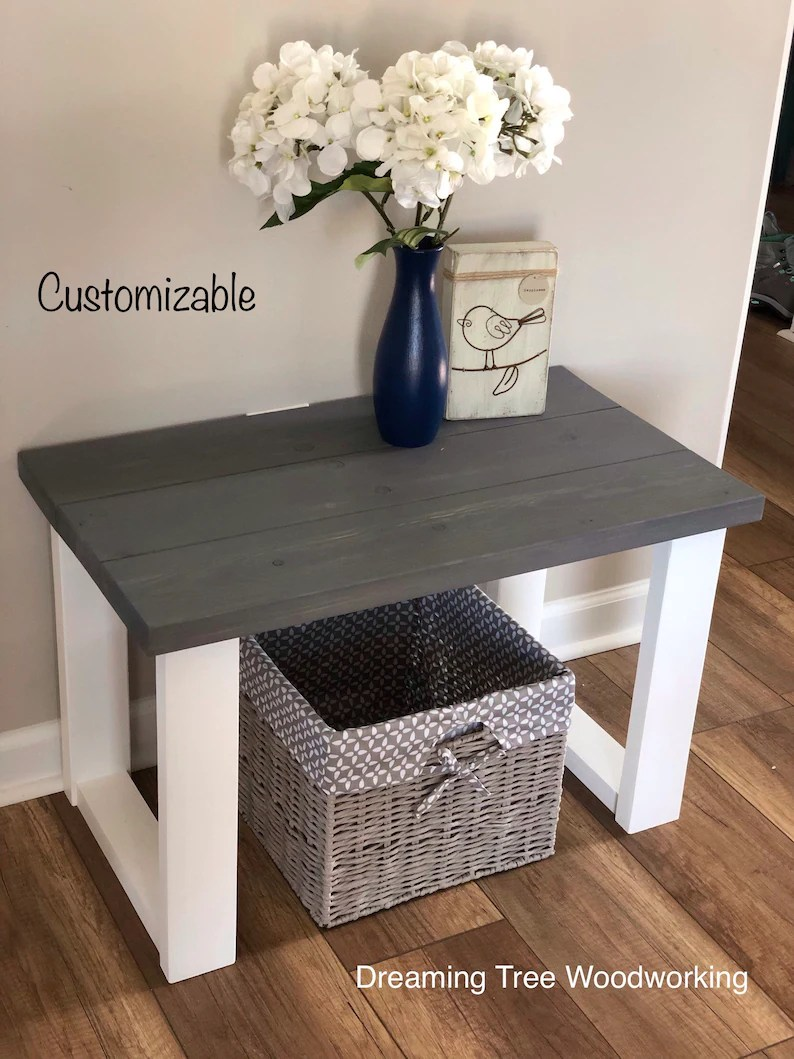 Small Entryway Bench Farmhouse Style Wood Bench Etsy