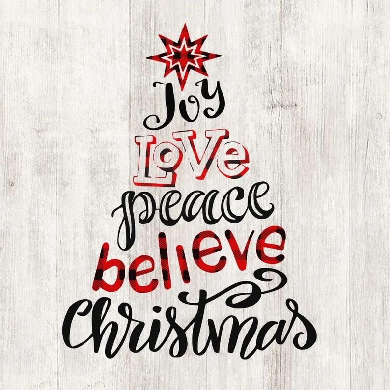 Download Joy love peace believe svg Christmas tree words svg   Etsy