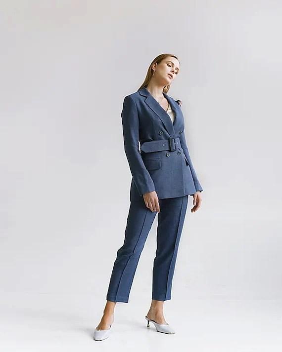 Blue Wool Business Attire Suit Wool Business Blazer Wool Long Etsy
