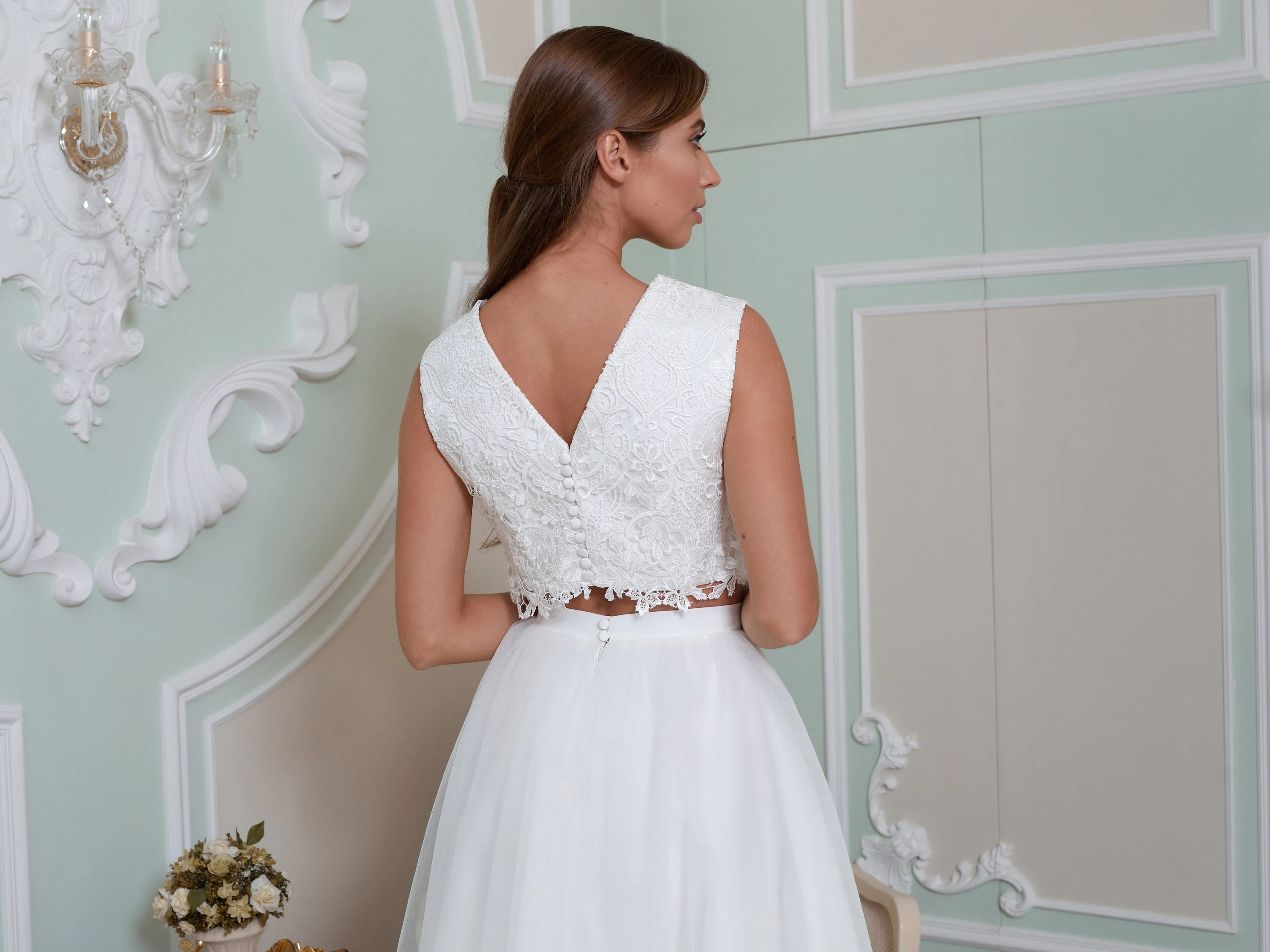 Ivory Bridal Gown Two Piece Wedding Dress Bridal Separates