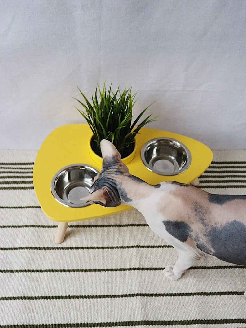 Cat furniture Wooden Feeding Stand with Fresh Green Grass image 0