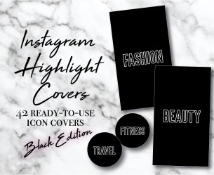 Instagram Story Highlight Icons 42 Black and White Word Etsy