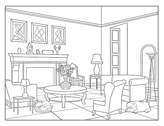 Living Room Around the House Coloring Pages for Adults 1