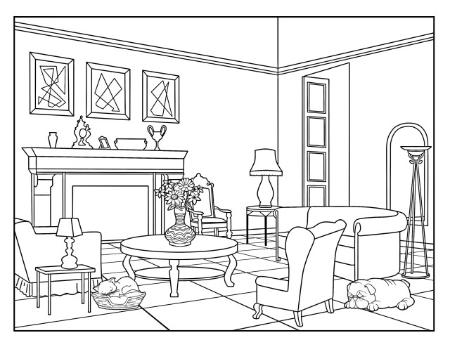 Living Room (Around the House) , Coloring Pages for Adults, 26 Printable  Coloring Page, Instant Download PDF
