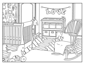 Baby s Room Around the House Coloring Pages for Etsy