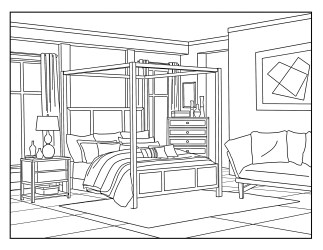 Bedroom Around the House Coloring Pages for Adults 1 Etsy