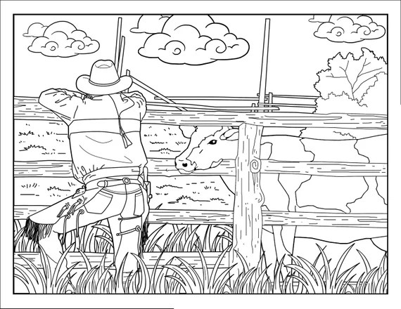 Cowboy Coloring Pages For Adults 1 Printable Coloring Page Etsy