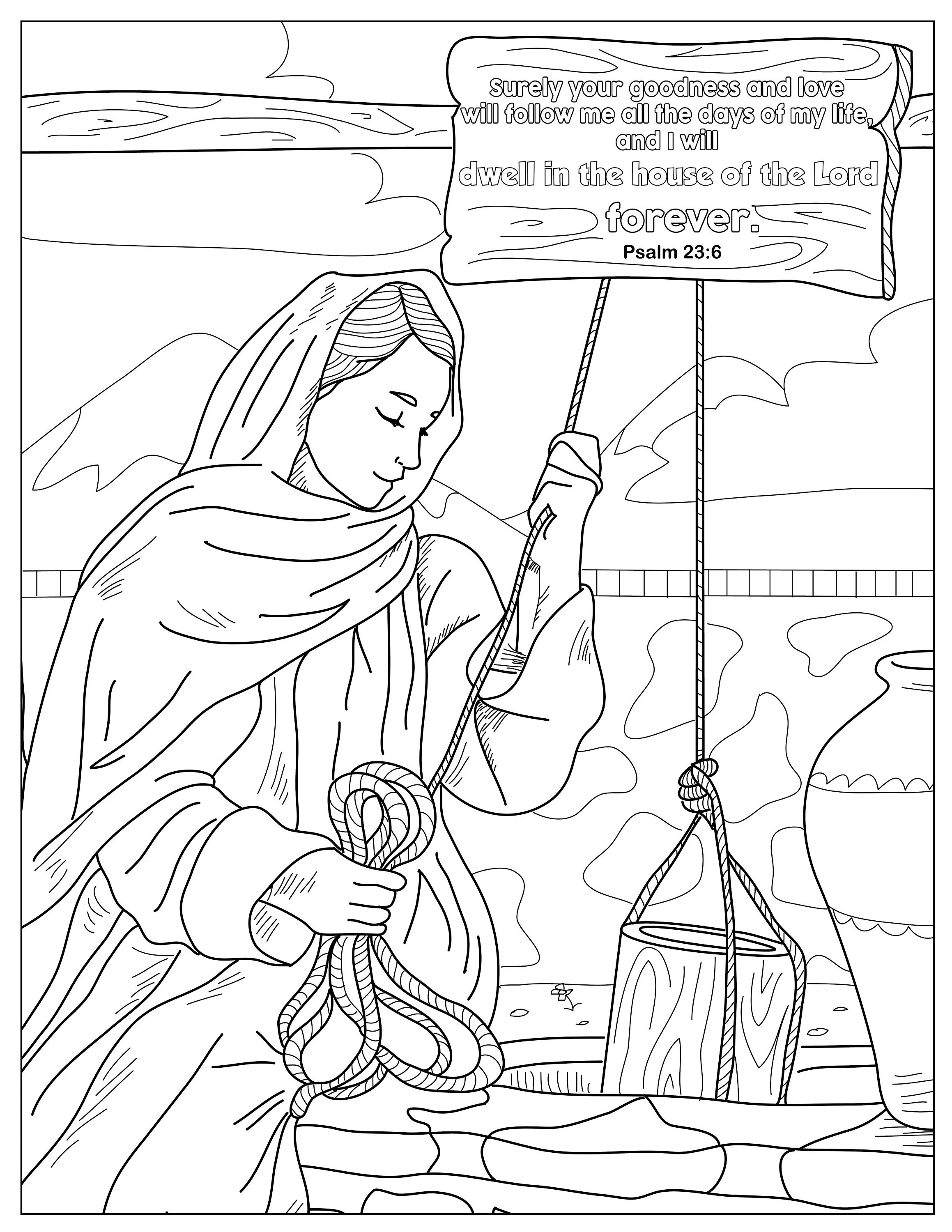 Psalm 23:6 Coloring Pages for Adults 1 Printable Coloring