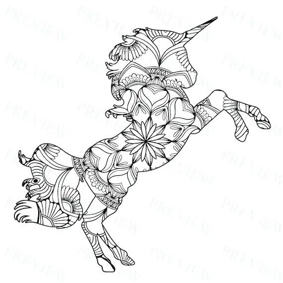10 Mandala Unicorn Mandala Coloring Pages Commercial