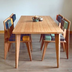 Large Kitchen Table Kenmore Appliances Dining Etsy Bamboo 5 Piece Set And 4 Custom Upholstered Chairs Mid Century Contemporary Scandinavian Inspired