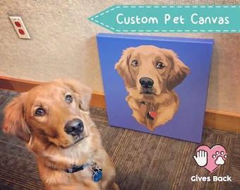 pet portrait canvas etsy