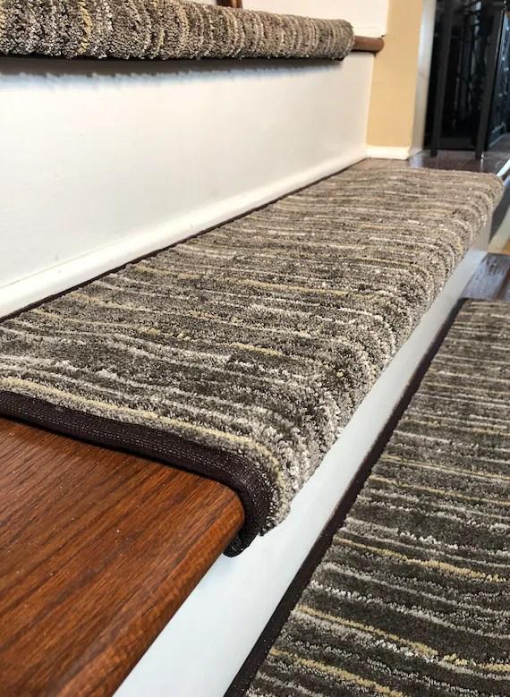 Padded Carpet Stair Treads Linea Patterned Etsy | Carpet Stair Treads Near Me | Flooring | Stair Runner | True Bullnose | Indoor Stair | Non Slip