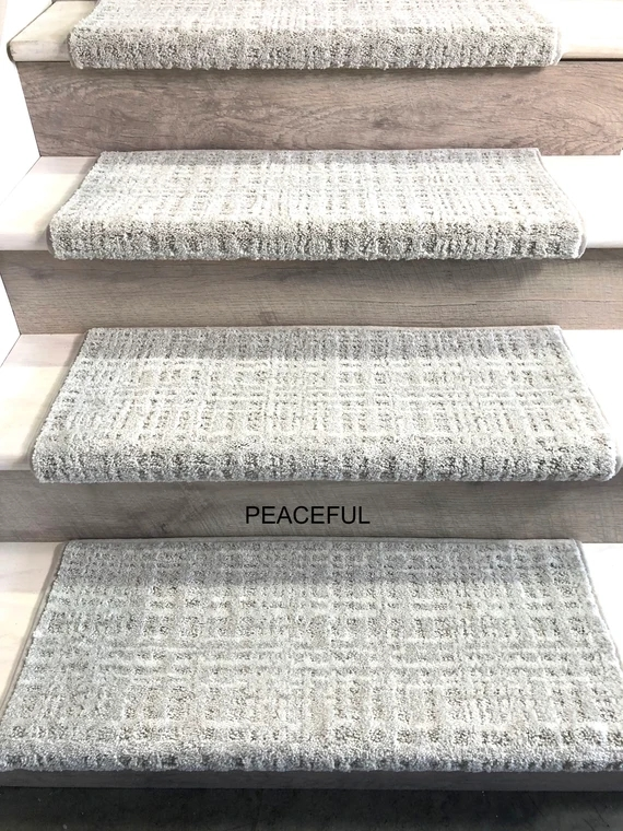 Padded Carpet Stair Treads Crossroads Peaceful Etsy | Carpet Steps For Stairs | Glitter Carpet | Elegant | Middle Open Concept | Heavy Duty | Gorgeous